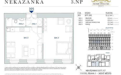 Prodej bytu 2+kk, 51.2 m², Nekázanka, Praha 1 - Nové Město