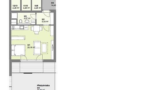 Pronájem bytu 1+kk, 39 m², Borová, Hostivice, okres Praha-západ