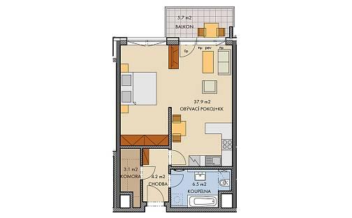 Prodej bytu 2+kk, 54 m², Honzíkova, Praha 15 - Dolní Měcholupy