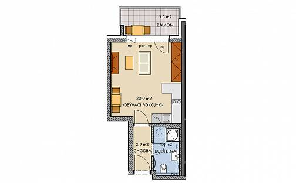 Prodej bytu 1+kk, 28 m², Honzíkova, Praha 15 - Dolní Měcholupy