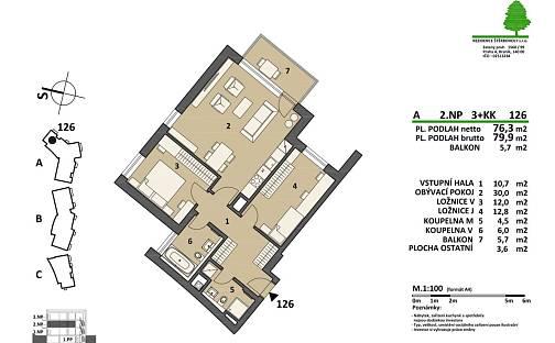 Prodej bytu 3+kk, 80 m², Pod areálem, Praha 15 - Štěrboholy