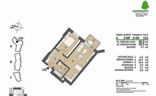 Prodej bytu 2+kk, 50.3 m², Pod areálem, Praha 15 - Štěrboholy
