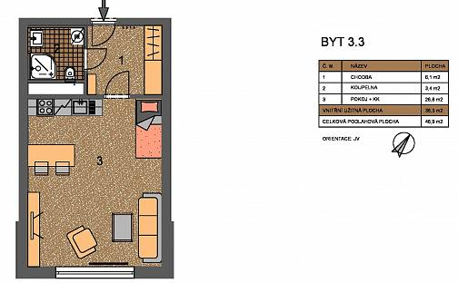 Pronájem bytu 1+kk, 36 m², Škarvadova, Praha 18 - Letňany