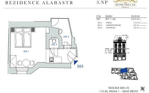 Prodej bytu 1+kk, 24.2 m², Školská, Praha 1 - Nové Město