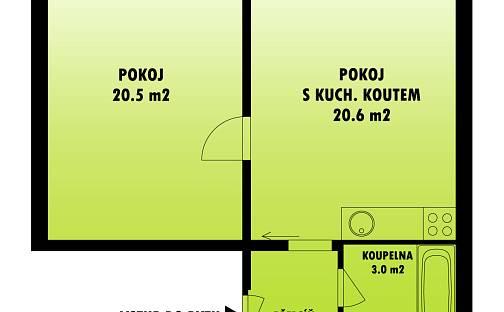 Pronájem bytu 2+kk 49m², Americká, Plzeň - Východní Předměstí