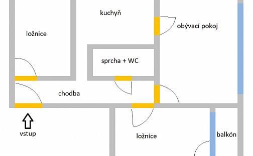 Pronájem bytu 3+1 78m², Urxova, Hradec Králové - Třebeš