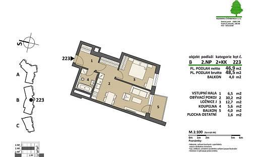 Prodej bytu 2+kk, 48.5 m², Pod areálem, Praha 15 - Štěrboholy