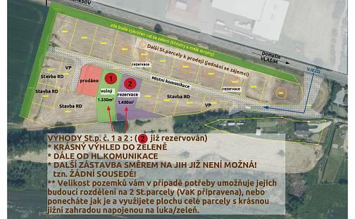 Prodej stavebního pozemku, 1350 m², Vlašim, okres Benešov