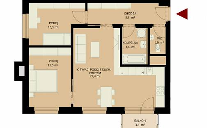 Prodej bytu 3+kk, 71 m², Bratranců Veverkových, Pardubice - Zelené Předměstí